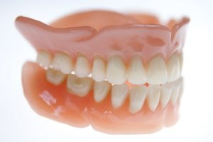 dentures on white background